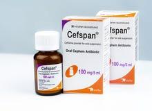 Cefspan 100 mg/5 ml Mondeling Cephem-Antibioticum Cefiximepoeder voor mondelinge opschorting 30 ml wanneer opnieuw samengesteld A stock foto