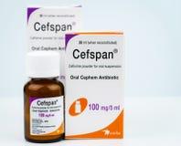 Cefspan 100 mg/5 ml Mondeling Cephem-Antibioticum Cefiximepoeder voor mondelinge opschorting 30 ml wanneer opnieuw samengesteld A stock fotografie