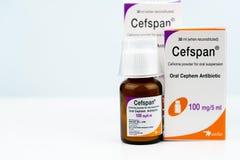 Cefspan 100 mg/5 ml Mondeling Cephem-Antibioticum Cefiximepoeder voor mondelinge opschorting 30 ml wanneer opnieuw samengesteld A royalty-vrije stock fotografie