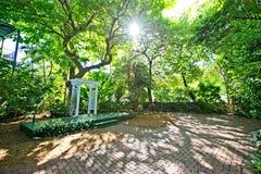 Cegła brukujący ogród z bujny zieleni drzewami i białą pergolą fotografia royalty free