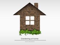 Cegła dom z trawą ilustracji