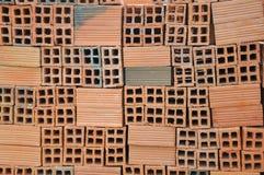 Cegła jest materiałem budowlanym używać robić ścianie bruki i inni elementy w kamieniarstwo budowie Obraz Stock