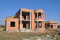 Cegły Domowa budowa Domowego budynku budowa i proces Budować domu sceny Fotografia Stock