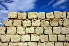 cegły suszą słońce borowinową ścianę Obrazy Royalty Free