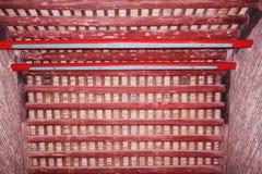 cegieł tekstury drewno Fotografia Royalty Free
