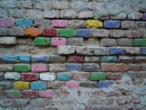 ceglana ściana kolorowa Fotografia Royalty Free