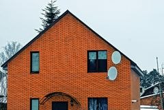Ceglana fasada intymny dom z okno Obrazy Royalty Free