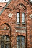 Ceglana fasada kośćiół protestancki Zdjęcia Stock