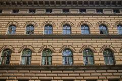Ceglana fasada stary budynek w europejczyku Zdjęcia Royalty Free