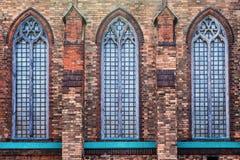 Ceglana fasada stary kościół katolicki Obrazy Royalty Free