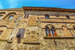 Ceglana fasada w San Gimignano Zdjęcia Royalty Free