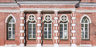 Ceglana fasada w Tsaritsyno rezerwie moscow Rosji Zdjęcie Stock