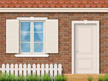 Ceglana fasada z białym okno i drzwi ilustracji