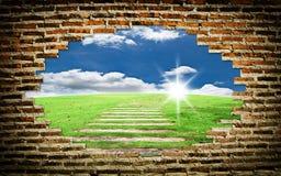 ceglanego pola natury stara ściana zdjęcie royalty free