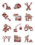 ceglanej budowy ikony ilustracja wektor