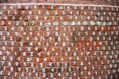 Ceglanej czerwieni ściana z liczbami Obraz Stock