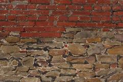 Ceglanej i kamiennej ściany tła tekstura - SUROWY format Obraz Royalty Free