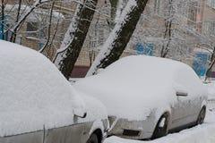 Ceglany budynek mieszkaniowy w miasteczku z parkującymi drzewami w jardzie po opadu śniegu i samochodami zdjęcia stock
