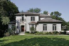 ceglany cedrowy domu dachu potrząśnięcia biel Zdjęcia Royalty Free