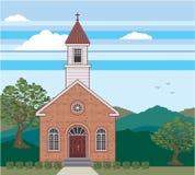 Ceglany kościelny wektoru krajobraz royalty ilustracja