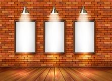 Ceglany przedstawienie pokój z światłami reflektorów ilustracja wektor