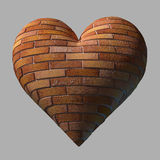 Ceglany serce odizolowywający Zdjęcia Stock