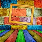 ceglany wewnętrzny drewniany obrazy stock