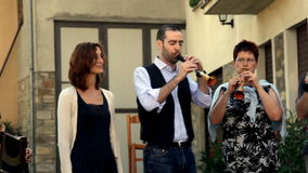 CEGNI, PV, ITALY - AUGUST 16: Street musicians per stock video