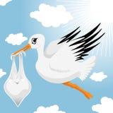 Cegonha com bebé Imagens de Stock Royalty Free