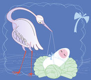 Cegonha com bebê Imagem de Stock Royalty Free