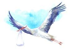 Cegonha com o bebê no fundo do céu azul ilustração stock