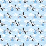 A cegonha do teste padrão leva o bebê Vetor, ilustração Foto de Stock