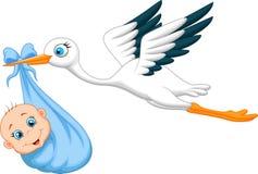 Cegonha dos desenhos animados com bebê Imagem de Stock Royalty Free