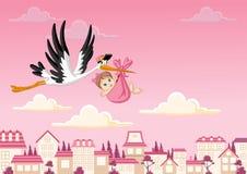 Cegonha dos desenhos animados que entrega um bebê Foto de Stock