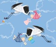 Cegonha e bebê ilustração stock