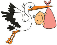 Cegonha e bebê ilustração royalty free