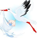 Cegonha e bebê Fotos de Stock Royalty Free