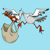 A cegonha engraçada do pássaro dos desenhos animados leva um saco Foto de Stock Royalty Free