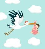 Cegonha que leva um bebê bonito Ilustração do vetor ilustração stock