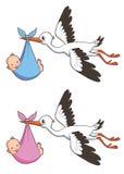 A cegonha traz o bebê Imagem de Stock
