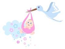 A cegonha traz o bebê Imagens de Stock Royalty Free