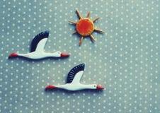 Cegonhas e sol Foto de Stock
