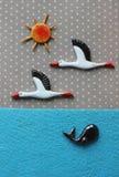Cegonhas e sol Fotografia de Stock