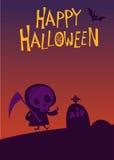 Ceifador bonito dos desenhos animados com o cartaz da foice para o partido de Dia das Bruxas ilustração royalty free