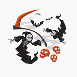 Ceifador com a foice para o conceito do Dia das Bruxas ou do horror, ilustração do vetor Imagens de Stock Royalty Free