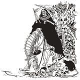 Ceifador no cemitério ilustração do vetor