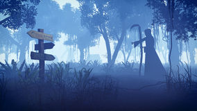 Ceifador que move-se para a vila na noite Fotografia de Stock