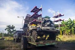 Ceifeira de liga do arroz no país Foto de Stock
