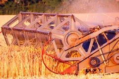 Ceifeira de liga que trabalha em um campo de trigo Fotografia de Stock Royalty Free