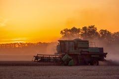 Ceifeira de liga que trabalha em um campo de trigo Imagem de Stock